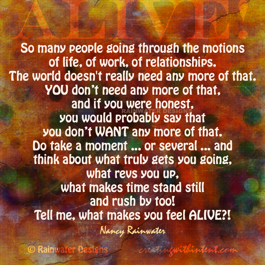 How to Feel Alive advise